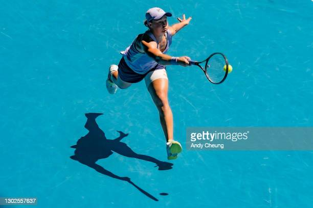 Ashleigh Barty of Australia lunges to play a forehand in her Women's Singles Quarterfinals match against Karolina Muchova of the Czech Republic...