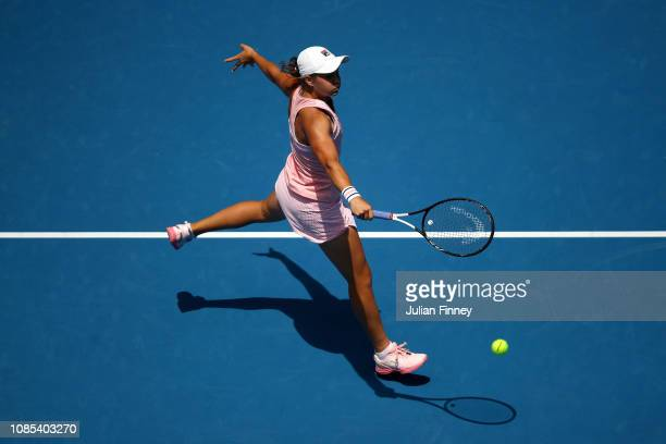 Ashleigh Barty of Australia plays a backhand in her fourth round match against Maria Sharapova of Russia during day seven of the 2019 Australian Open...