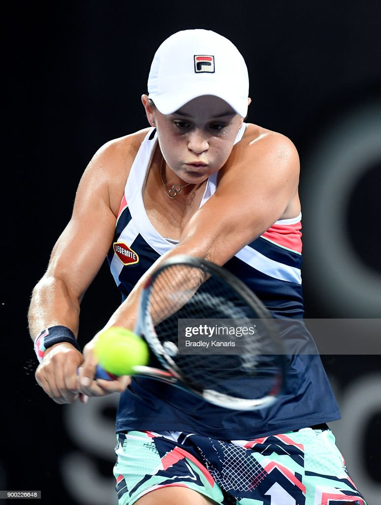Ashleigh Barty of Australia plays a backhand in her match against Lesia Tsurenko of Ukraine during day two of the 2018 Brisbane International at Pat Rafter Arena on January 1, 2018 in Brisbane, Australia.
