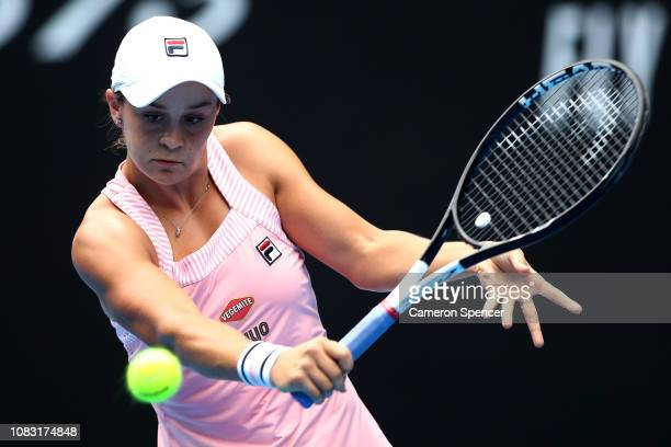 Ashleigh Barty of Australia plays a backhand in her second round match against Yafan Wang of China during day three of the 2019 Australian Open at...