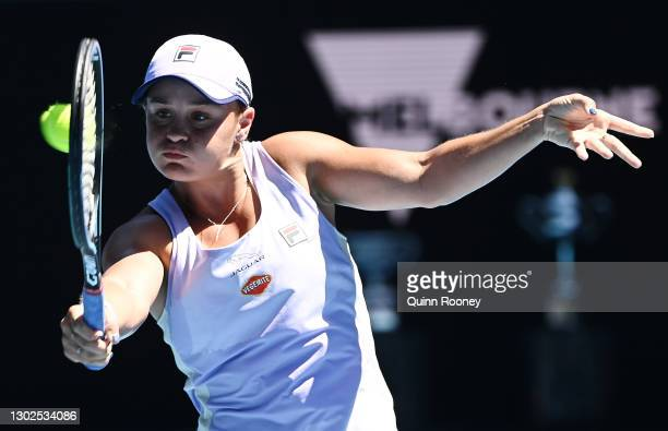 Ashleigh Barty of Australia plays a backhand in her Women's Singles Quarterfinals match against Karolina Muchova of the Czech Republic during day 10...