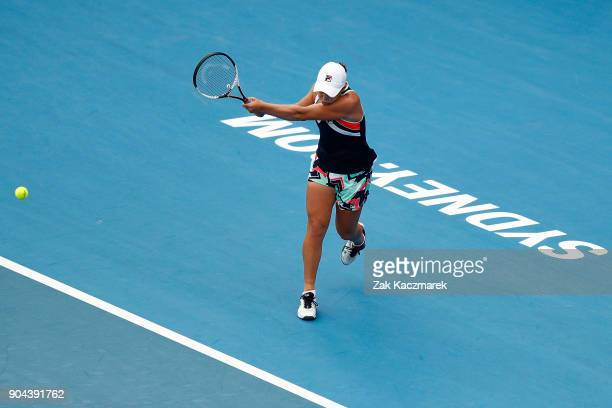 Ashleigh Barty of Australia plays a backhand in her Women's Singles Final match against Angelique Kerber of Germany during day seven of the 2018...