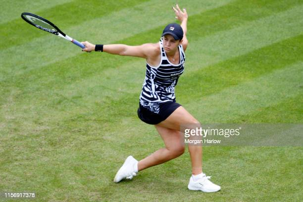 Ashleigh Barty of Australia plays a backhand shot during her first round match against Donna Vekic of Croatia during day three of the Nature Valley...
