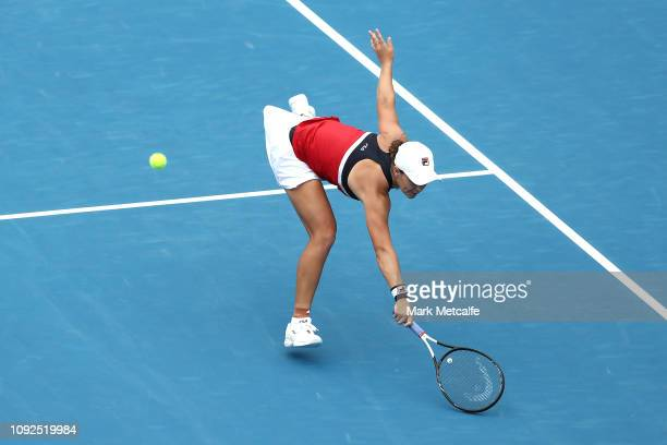 Ashleigh Barty of Australia plays a backhand volley in her semi final match against Kiki Bertens of the Netherlands during day six of the 2019 Sydney...
