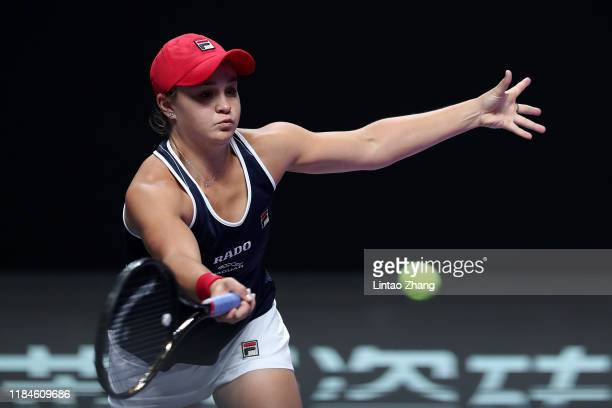 Ashleigh Barty of Australia plays a forehand against Petra Kvitova of the Czech Republic during their Women's Singles match on Day Five of the 2019...