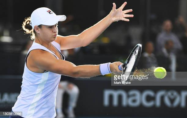 Ashleigh Barty of Australia plays a forehand during her match against Danielle Collins of the USA on day three of the Adelaide International WTA 500...