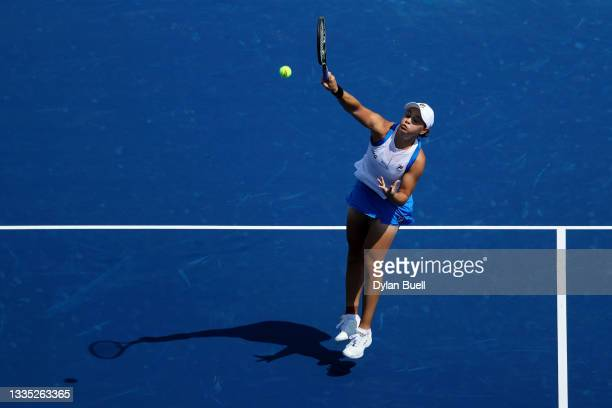 Ashleigh Barty of Australia plays a forehand during her match against Barbora Krejcikova of the Czech Republic during Western & Southern Open - Day 6...
