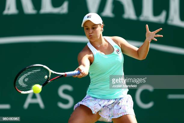 Ashleigh Barty of Australia plays a forehand during her Round of 16 match against Jule Goerges of Germany during Day Six of the Nature Valley Classic...