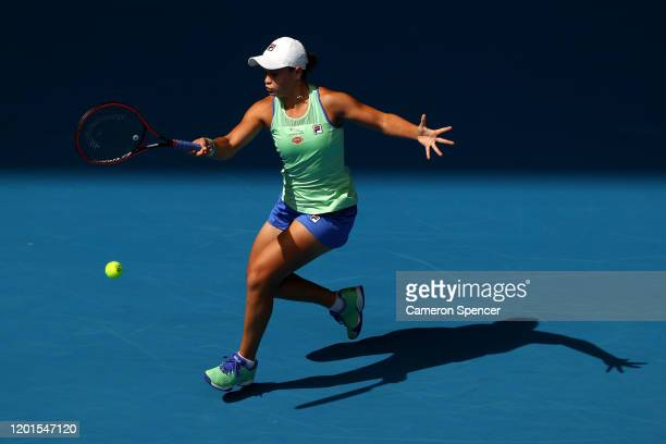 Ashleigh Barty of Australia plays a forehand during her Women's Singles third round match against Elena Rybakina of Kazakhstan on day five of the...