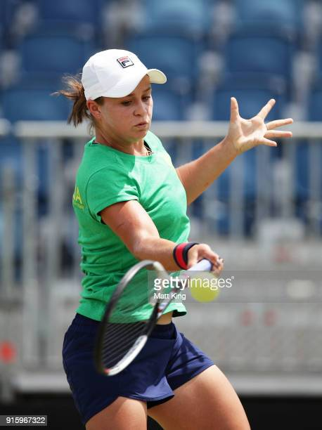 Ashleigh Barty of Australia plays a forehand during practice ahead of the Fed Cup tie between Australia and the Ukraine on February 9 2018 in...