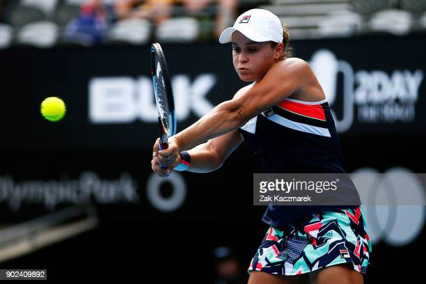 Ashleigh Barty of Australia plays a forehand in her first round match against Veronica Cepde Royg of Paraguay during day two of the 2018 Sydney...
