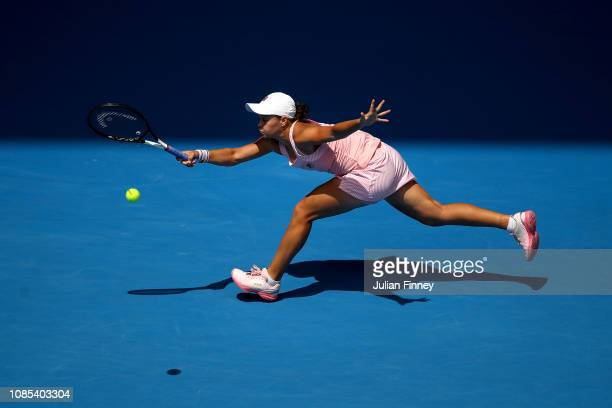 Ashleigh Barty of Australia plays a forehand in her fourth round match against Maria Sharapova of Russia during day seven of the 2019 Australian Open...