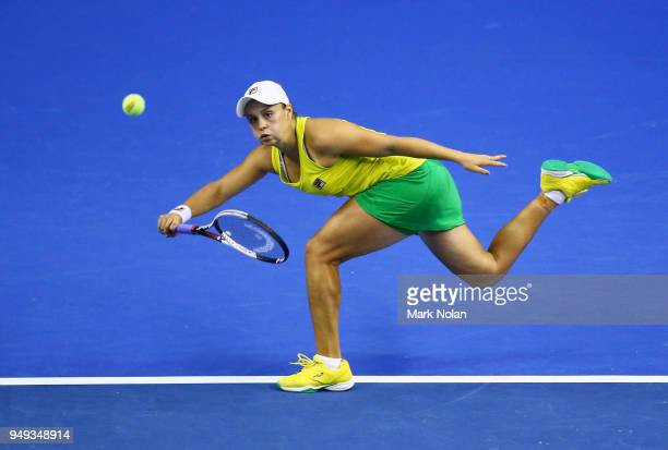 Ashleigh Barty of Australia plays a forehand in her match against Quirine Lemoine of the Netherlands during the World Group PlayOff Fed Cup tie...