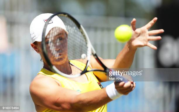 Ashleigh Barty of Australia plays a forehand in her singles match against Lyudmyla Kichenok of Ukraine during the Fed Cup tie between Australia and...