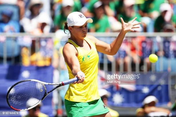 Ashleigh Barty of Australia plays a forehand in her singles match against Marta Kostyuk of Ukraine during the Fed Cup tie between Australia and the...