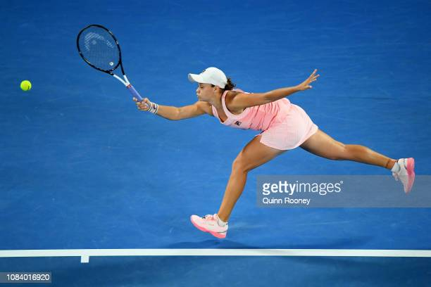 Ashleigh Barty of Australia plays a forehand in her third round match against Maria Sakkari of Greece during day five of the 2019 Australian Open at...
