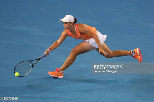 Ashleigh Barty of Australia plays a forehand in her Women's SinglesFinal match against Garbine Muguruza of Spain during day eight of the WTA 500...