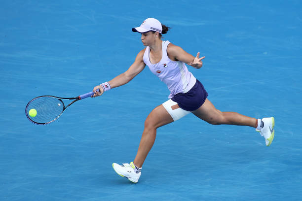 Ashleigh Barty of Australia plays a forehand in her Women's Singles third round match against Ekaterina Alexandrova of Russia during day six of the...