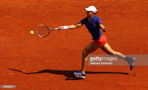 Ashleigh Barty of Australia plays a forehand in her women's singles first round match between Ashleigh Barty of Australia and Petra Kvitova of Czech...