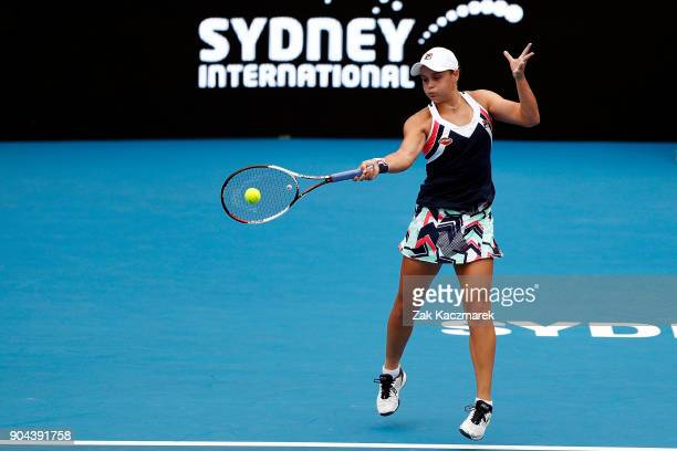 Ashleigh Barty of Australia plays a forehand in her Women's Singles Final match against Angelique Kerber of Germany during day seven of the 2018...