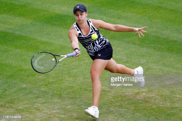 Ashleigh Barty of Australia plays a forehand shot during her second round match agains Jennifer Brady of USA during day four of the Nature Valley...