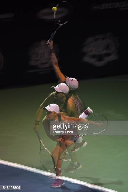 Ashleigh Barty of Australia plays a return shot to Nao Hibino of Japan during the Final of the 2017 WTA Malaysian Open at the TPC on March 5, 2017 in...