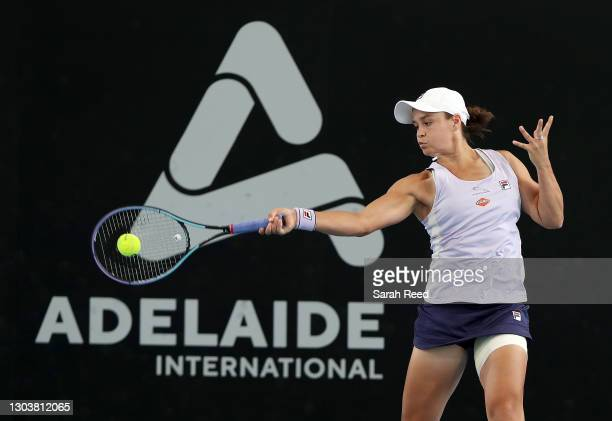Ashleigh Barty of Australia plays a shot against Danielle Collins of the USA during day three of the Adelaide International WTA 500 at Memorial Drive...