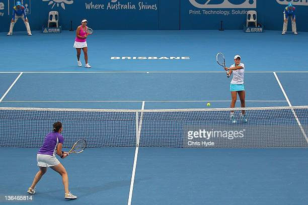 Ashleigh Barty of Australia plays a shot in her double semi final match partnered with Casey Dellacqua during day six of the 2012 Brisbane...