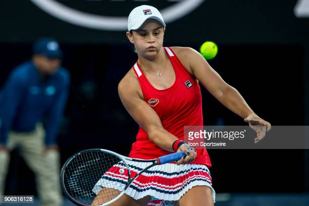 Ashleigh Barty of Australia plays a shot in her second round match during the 2018 Australian Open on January 18 at Melbourne Park Tennis Centre in...