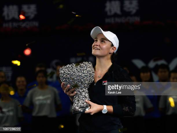 Ashleigh Barty of Australia poses with her trophy at the award ceremony of the Women's Single on Day 6 of 2018 WTA Elite Trophy Zhuhai at Hengqin...