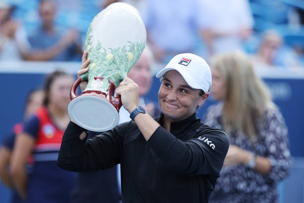Ashleigh Barty of Australia poses with the championship trophy after defeating Jil Teichmann of Switzerland during the women's singles finals of the...