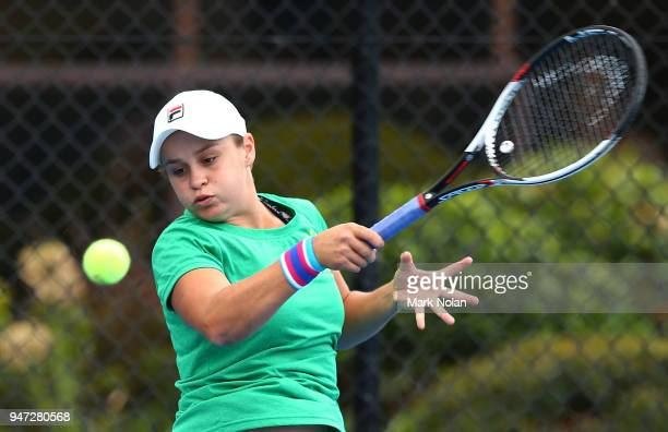 Ashleigh Barty of Australia practices after a media opportunity ahead of the Australia v Netherlands Fed Cup World Group Playoff at Wollongong Tennis...