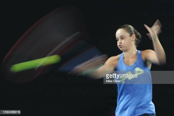 Ashleigh Barty of Australia practices ahead of the 2020 Australian Open at Melbourne Park on January 19, 2020 in Melbourne, Australia.