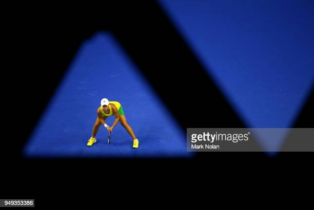 Ashleigh Barty of Australia prepares for service her match against Quirine Lemoine of the Netherlands during the World Group PlayOff Fed Cup tie...