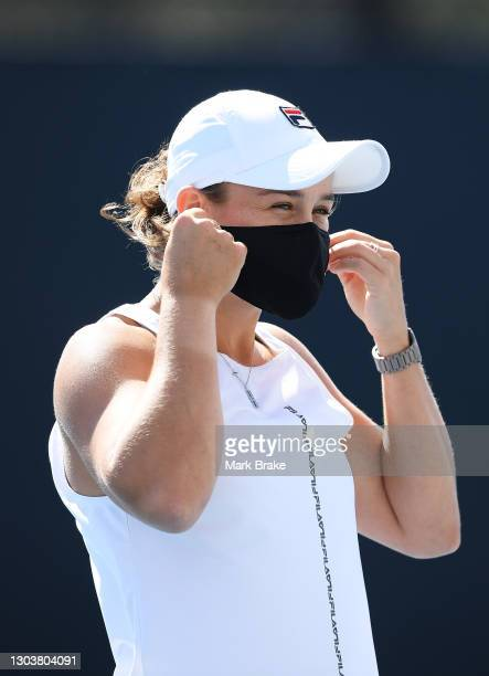 Ashleigh Barty of Australia puts on her face mask after her training session on day three of the Adelaide International WTA 500 at Memorial Drive on...