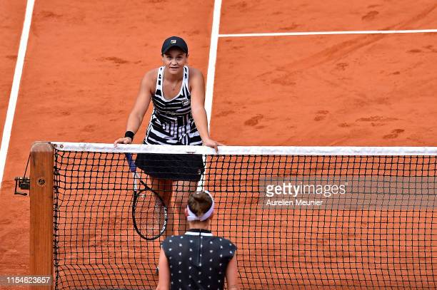 Ashleigh Barty of Australia reacts after winning her womens singles final match against Marketa Vondrousova of Czech Republic on day fourteen of the...