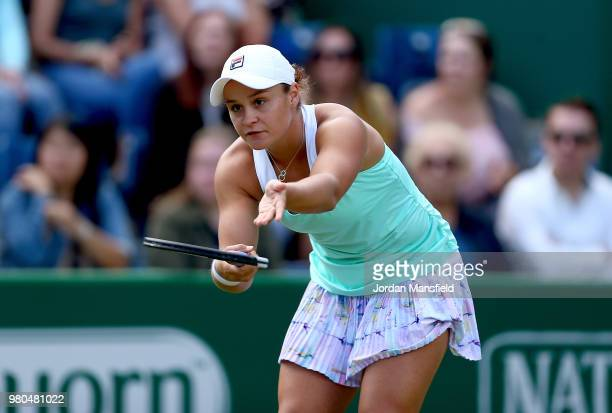 Ashleigh Barty of Australia reacts during her Round of 16 match against Jule Goerges of Germany during Day Six of the Nature Valley Classic at...