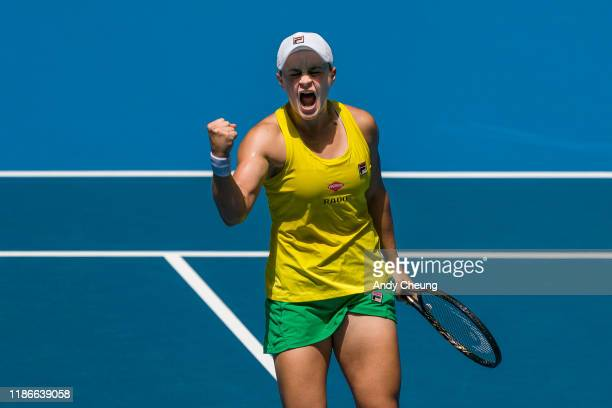Ashleigh Barty of Australia reacts during the Day 2 match against Kristina Mladenovic of France in the 2019 Fed Cup Final tie between Australia and...
