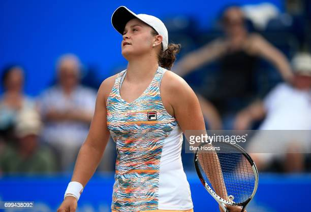 Ashleigh Barty of Australia reacts during the second round match against Barbora Strycova of The Czech Republic on day three of The Aegon Classic...