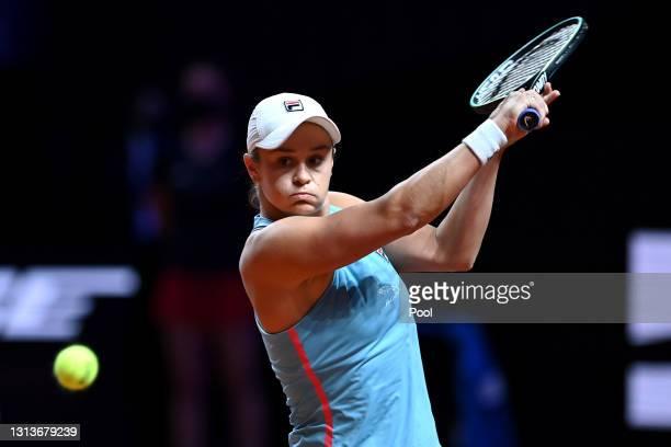 Ashleigh Barty of Australia returns a backhand on day 5 of the Porsche Tennis Grand Prix match between Ashleigh Barty of Australia and Laura...