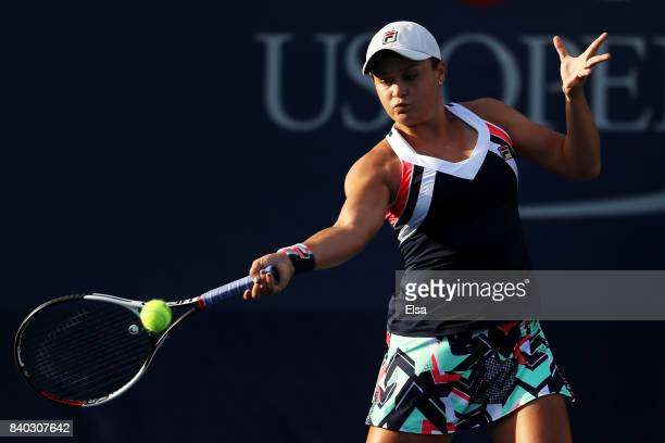 Ashleigh Barty of Australia returns a shot during her first round Women's Singles match against Ana Konjuh of Croatia on Day One of the 2017 US Open...