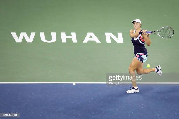 Ashleigh Barty of Australia returns a shot during the Finals match Caroline Garcia of France on Day 7 of 2017 Dongfeng Motor Wuhan Open at Optics...