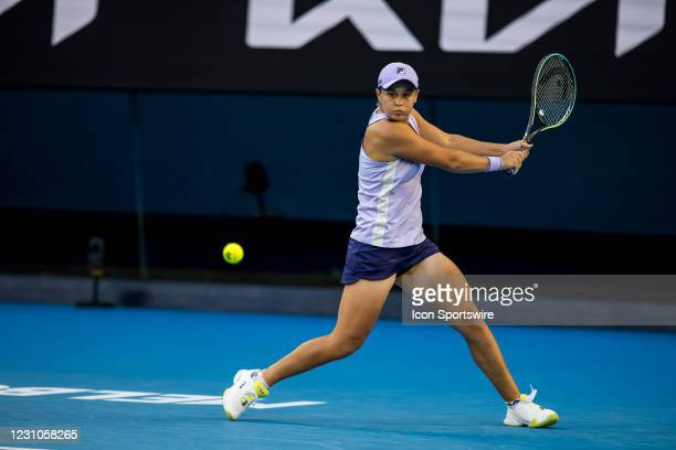 Ashleigh Barty of Australia returns the ball during round 1 of the 2021 Australian Open on February 9 2020, at Melbourne Park in Melbourne, Australia.