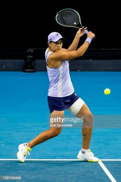 Ashleigh Barty of Australia returns the ball during round 3 of the 2021 Australian Open on February 13 2020, at Melbourne Park in Melbourne,...