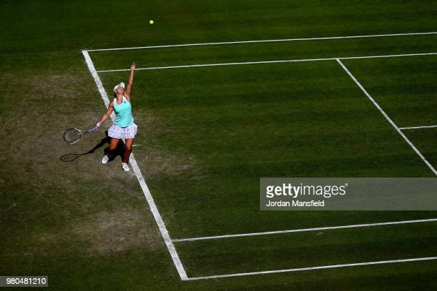 Ashleigh Barty of Australia serves during her Round of 16 match against Jule Goerges of Germany during Day Six of the Nature Valley Classic at...