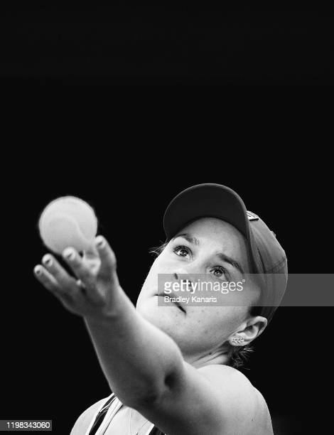 Ashleigh Barty of Australia serves in her match against Jennifer Brady of the USA during day four of the 2020 Brisbane International at Pat Rafter...