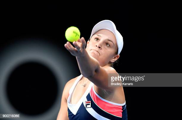 Ashleigh Barty of Australia serves in her match against Lesia Tsurenko of Ukraine during day two of the 2018 Brisbane International at Pat Rafter...