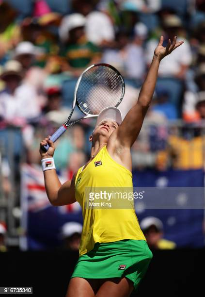 Ashleigh Barty of Australia serves in her singles match against Marta Kostyuk of Ukraine during the Fed Cup tie between Australia and the Ukraine at...