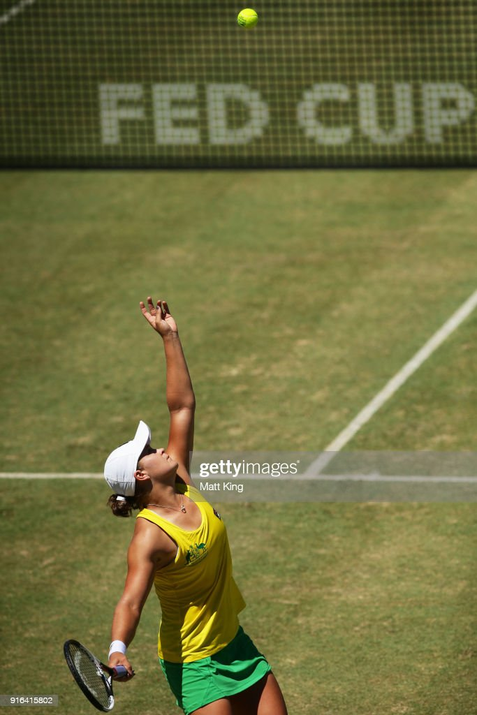 Ashleigh Barty of Australia serves in her singles match against Lyudmyla Kichenok of Ukraine during the Fed Cup tie between Australia and the Ukraine at the Canberra Tennis Centre on February 10, 2018 in Canberra, Australia.