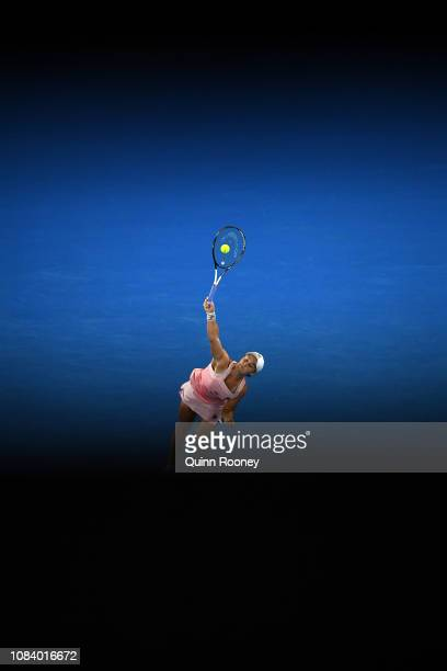 Ashleigh Barty of Australia serves in her third round match against Maria Sakkari of Greece during day five of the 2019 Australian Open at Melbourne...